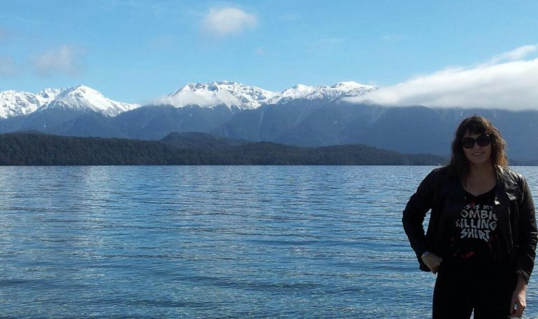 No - it's not a backdrop! On the lake at beautiful Te Anau.