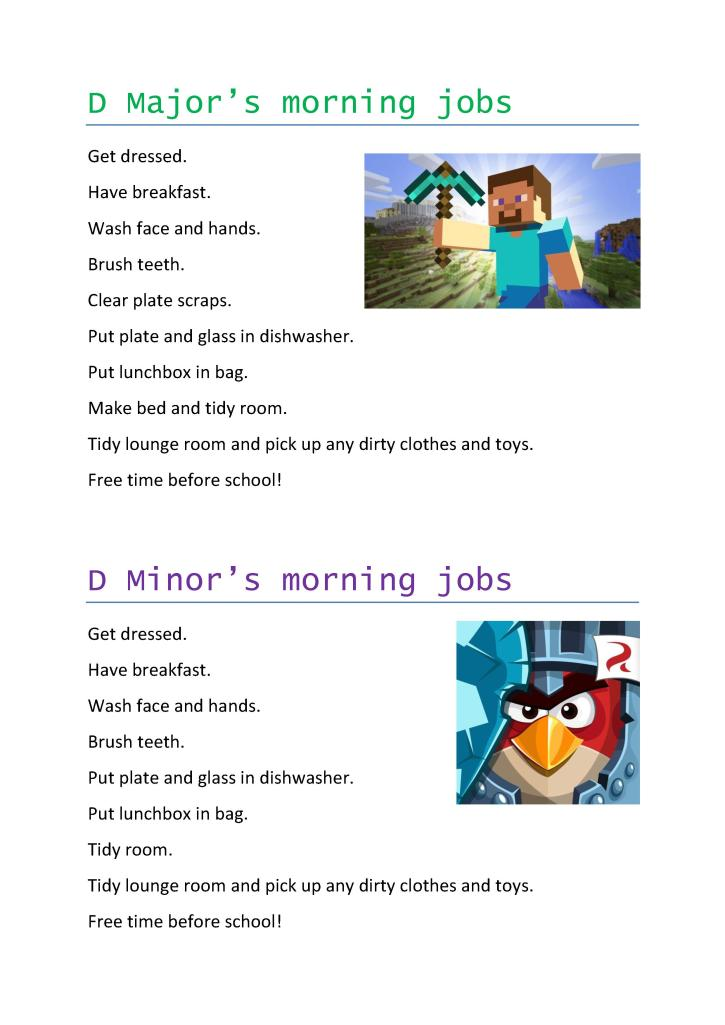 Our morning jobs list (kids names changed for online)