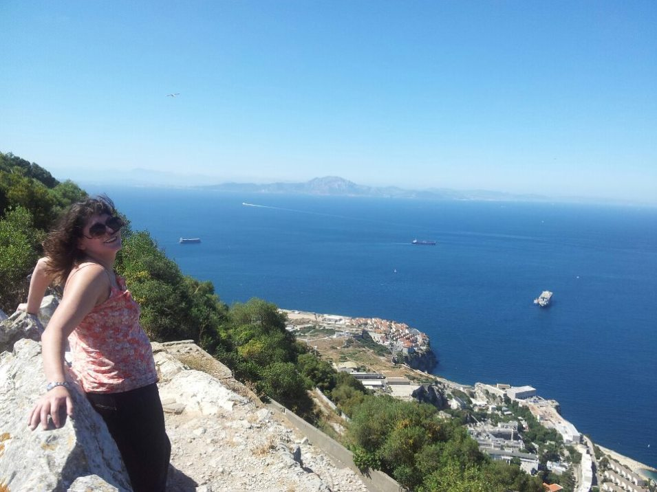 Me at the top of the Rock of Gibraltar, looking out across to Africa. Yes, I *CLIMBED* the Rock. No minibus for me! :)