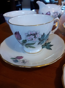 My aunt's tea set. It's on sale now, and if after three weeks it doesn't sell, it will go to the charity shop.