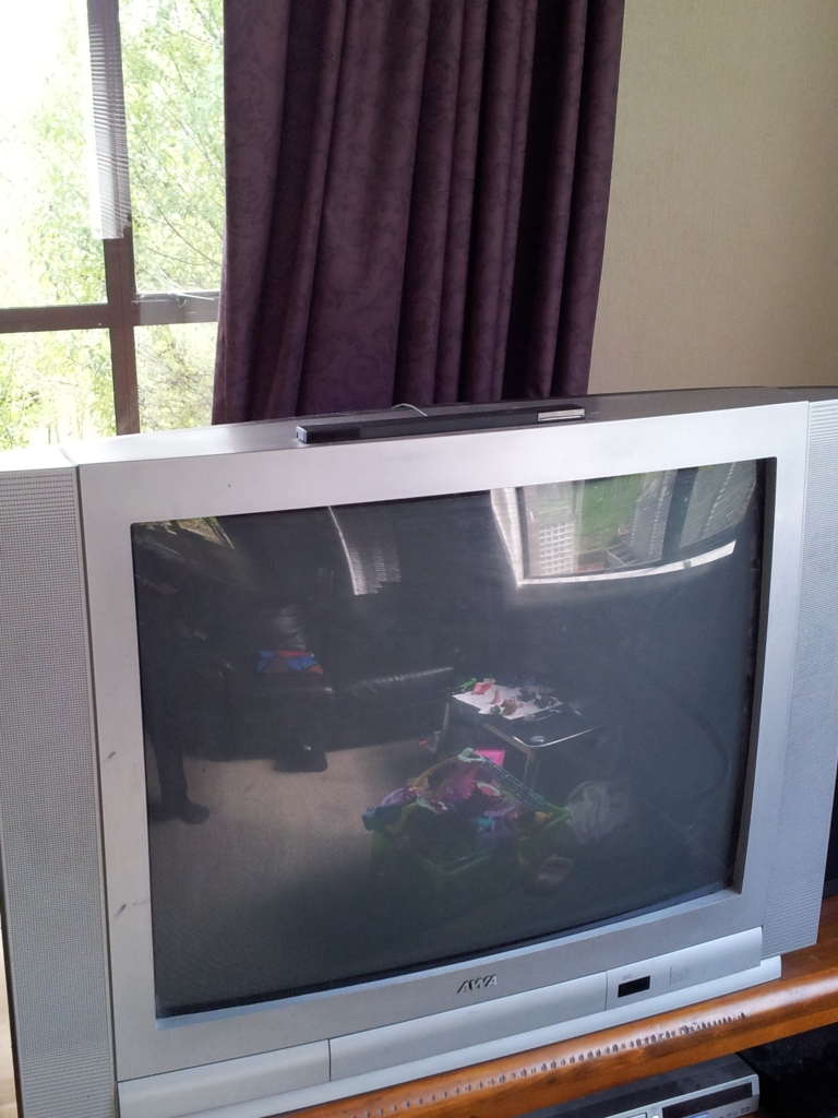 My old box TV. I received it for a bag of sausages in barter a few years ago - a great deal!