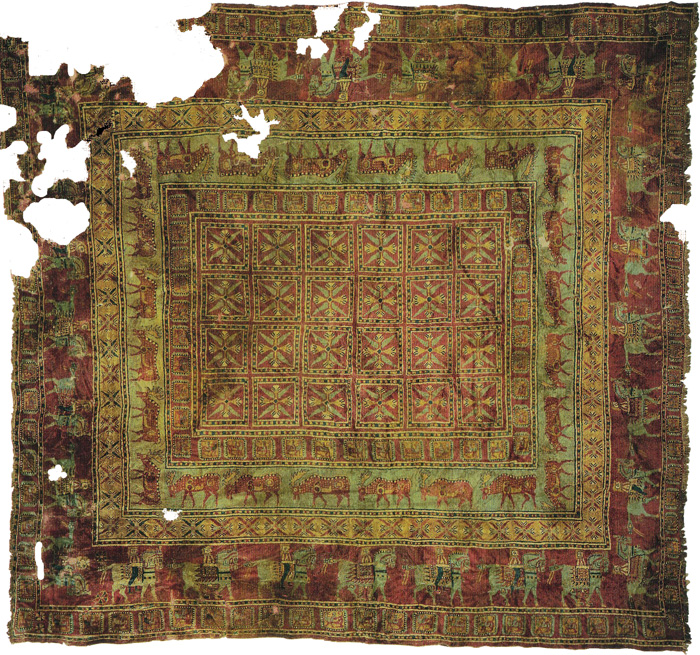 The Pazyryk Carpet - the oldest known knotted carpet, 400-300 B.C.