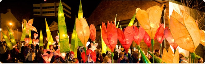 Every year, we make lanterns in the community workshops and participate in the Midwinter Lantern Parade.