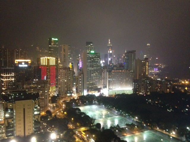 Hong Kong (Causeway Bay) by night. The view from my hotel room.