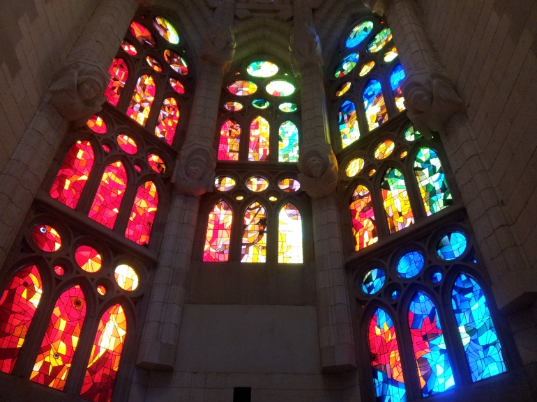 Stained glass window at Sagrada Familia, Barcelona, Spain.