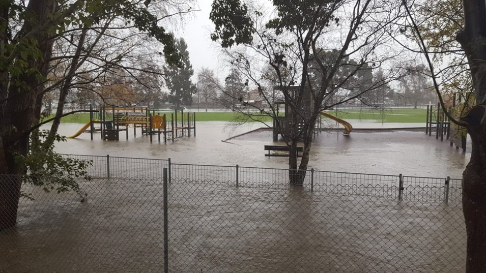 The playground. There's a sandpit somewhere under that water! :(