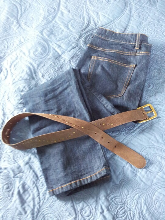 My blue jeans and brown leather belt. Both cycled out this season. The jeans don't fit any more and the belt was too worn.
