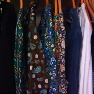 My capsule wardrobe, as it was. Everything is still here 1.5 years on, except the plain blue shirt and the plain white one.
