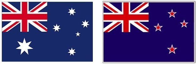 The Australian flag (left) and the New Zealand flag (right). Spot the difference.
