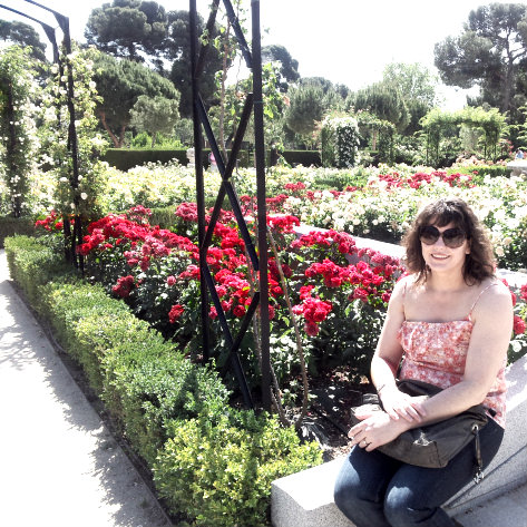 In the rose gardens of Madrid, Spain, at high summer.